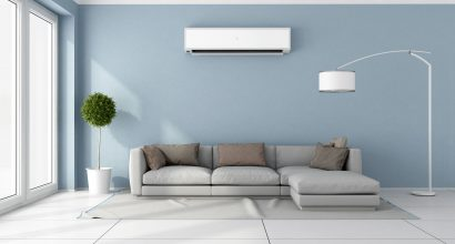 39377820 - blue living room with  gray sofa and air conditioner on wall - 3d rendering
