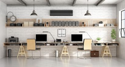 57836273 - architecture or engineering workplace office with two workstation in a loft- 3d rendering